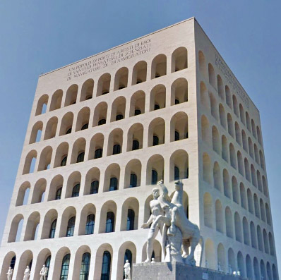 Weird Italy EUR-title Architecture Under Fascism: E.U.R. Featured Italian Art, Design & Photography Italian History Magazine What to see in Italy  rome roman empire mussolini Marcello Piacentini Italian rationalism futurism fascist architecture fascism eur Esposizione Universale architecture
