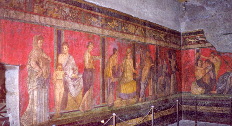 Weird Italy Roman-fresco-Villa-dei-Misteri-Pompeii 30 Amazing pictures of Pompeii Featured Italian History Magazine What to see in Italy  romans Pompeii Pliny the Younger Pliny the Elder Mount Vesuvius Imperial Rome Herculaneum graffiti erotic graffiti campania 79 AD