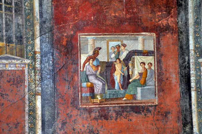 Weird Italy frontone-003 Three amazing Roman Villas reopened in Pompeii Italian History Magazine What to see in Italy  villas the House of Romulus and Remus romans roman architecture Pompeii paintings House of Marco Lucrezio Frontone Home of Triptolemus domus architecture
