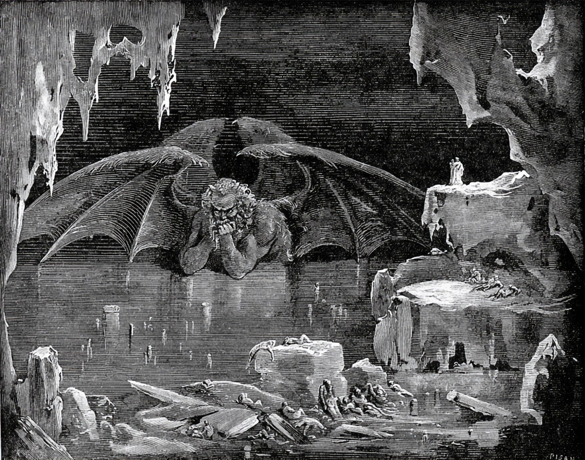 Weird Italy Lucifer-King-of-Hell 42 astonishing Dante's Inferno illustrations by Gustave Doré Featured Italian History Magazine  tuscany the divine comedy souls purgatory lost souls la divina commedia inferno illustrations hell heaven gustave doré