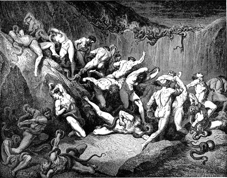 Weird Italy inferno-XXIV 42 astonishing Dante's Inferno illustrations by Gustave Doré Italian History Magazine  tuscany the divine comedy souls purgatory lost souls la divina commedia inferno illustrations hell heaven gustave doré