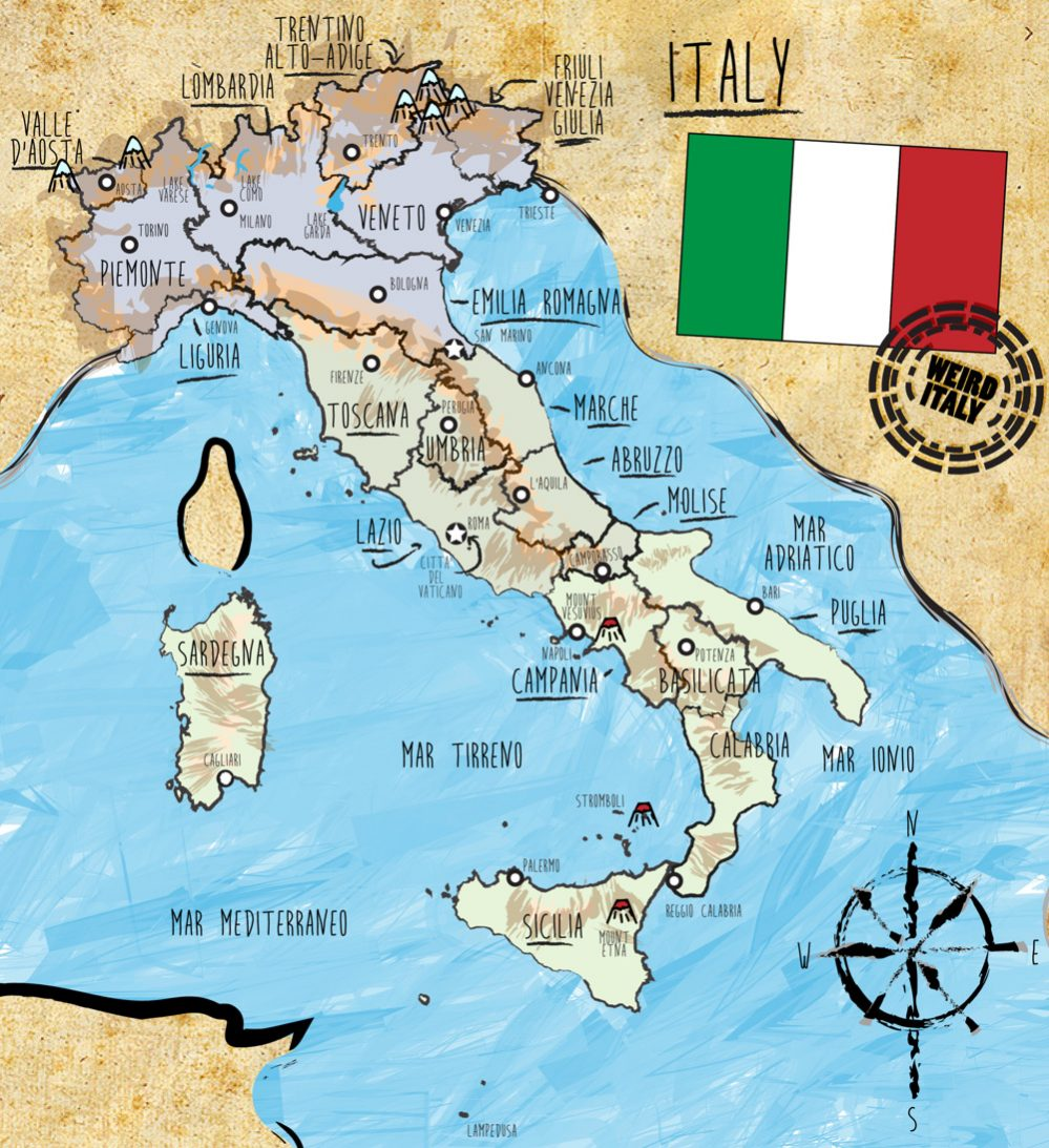 Map Of Italy And Austria With Cities.Italy Country Map And Statistics Weird Italy