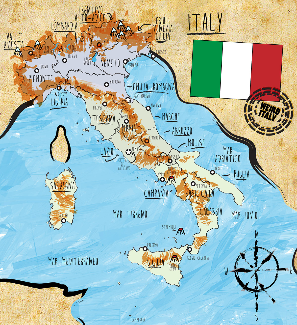 Weird Italy weird-italy-map Italy, Country Map and Statistics Essential Information Magazine  Regions of Italy Italy statistics Italy map Geography of Italy Famous Italian writers famous italian food Famous Italian artists Economy of Italy Climate of Italy