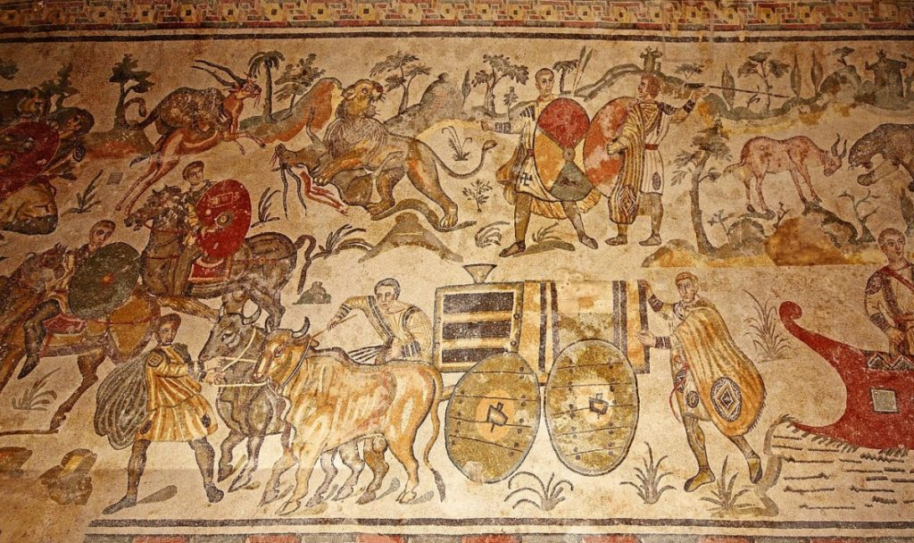 Weird Italy Big-Game-Hunt-mosaic-1024x608 The astonishing mosaics of the Roman Villa del Casale Featured Italian History What to see in Italy  romans roman history
