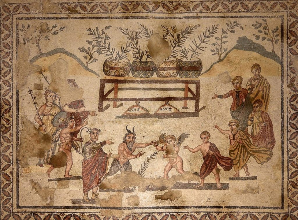 Weird Italy Eros-and-Pan-mosaic-1024x756 The astonishing mosaics of the Roman Villa del Casale Featured Italian History What to see in Italy  romans roman history
