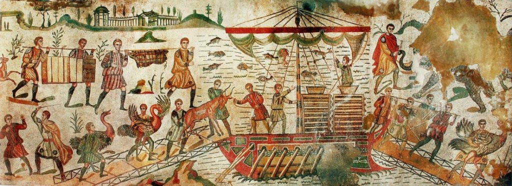 Weird Italy Great-Hunt-mosaic-depicts-the-capture-and-transportation-of-animals-1024x373 The astonishing mosaics of the Roman Villa del Casale Featured Italian History What to see in Italy  romans roman history