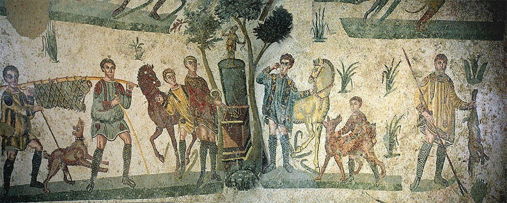 Weird Italy The-Little-Hunt-mosaic-detail The astonishing mosaics of the Roman Villa del Casale Featured Italian History What to see in Italy  romans roman history