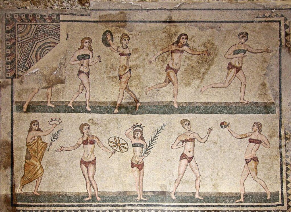 Weird Italy roman-girls-in-bikini-1024x746 The astonishing mosaics of the Roman Villa del Casale Featured Italian History What to see in Italy  romans roman history