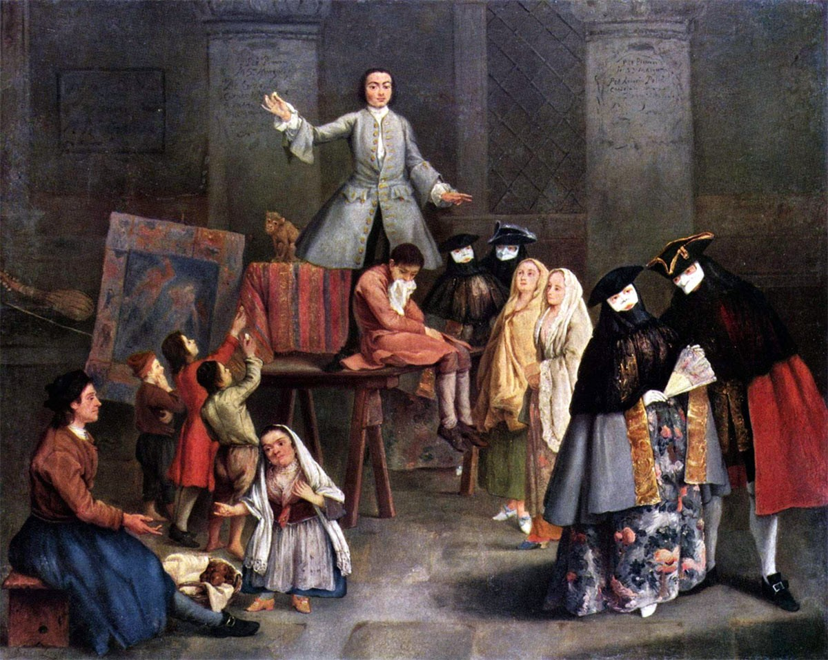 Weird Italy Pietro-Longhi-The-Tooth-Puller-1 Facts, Images & History of the Carnival and the Masks of Venice Featured Italian Art, Design & Photography Italian History Italian People  venice veneto folklore festival