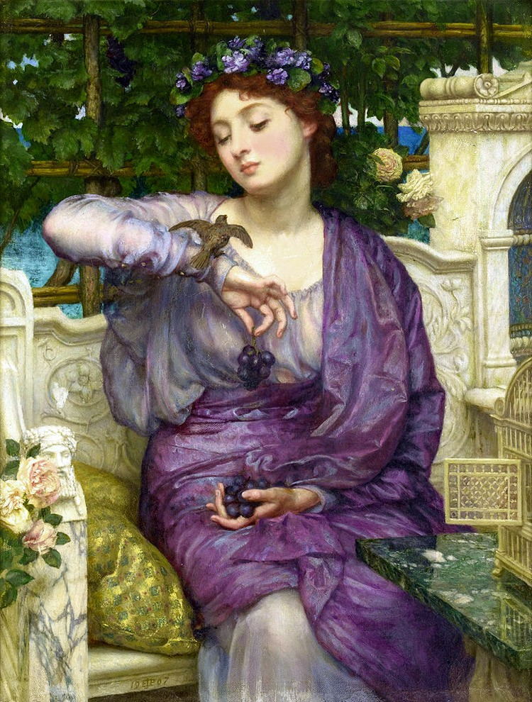 Weird Italy Sir-Edward-John-Poynter-lesbia-and-her-sparrow The Grottoes of Catullus, the ruins of a Roman Villa in Sirmione Featured Italian History Magazine What to see in Italy  sirmione roman villa mediterranean climate lesbia Imperial Rome garda lake catullus caves catullus architecture